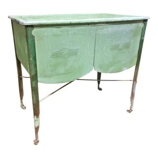 Vintage Speed Queen Green Country Galvanized Double Basin Wash Tub with Stand