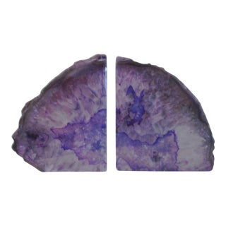 Brazilian Violet Geode Bookends - A Pair