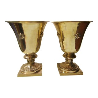 Large Gothic Brass Urns - a Pair