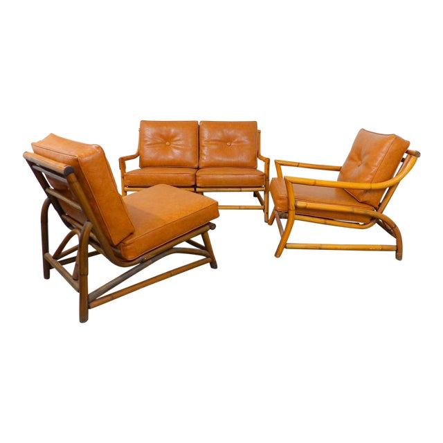 Vintage Naugahyde Mid-Century Modern Bamboo & Brown Vinyl Sofa Set - 3 Pcs. - Image 1 of 11