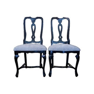 Blue & Black Satin Dining Chairs - Set of 6