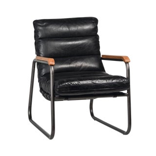 Aged Black Leather Chair