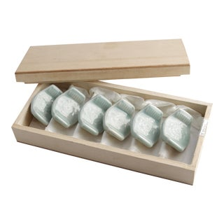 Vintage Asian Ceramic Celadon Chopstick Rests in Box - Set of 6