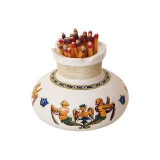 Vintage French Porcelain Match Holder & Striker