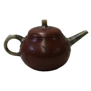 Chinese Zisha Jade Stone Handle Teapot Display Art