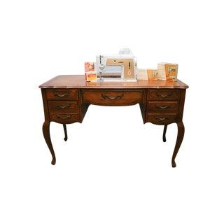 Singer Sewing Machine in Wooden Desk