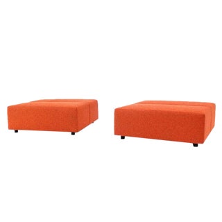 Pair of Large Oversize 4x4 Orange Upholstery Square Benches by Steelcase