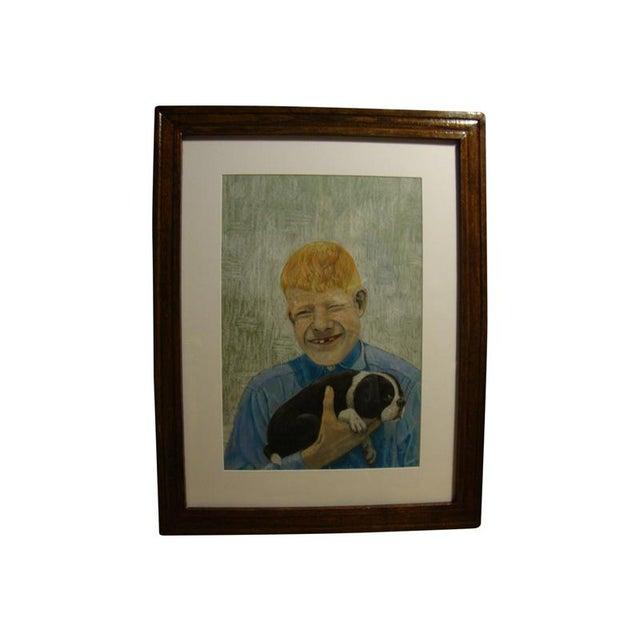 Mid-Century Outsider Boy & Dog Pastel Painting - Image 1 of 4