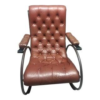 Lee Woodard Mid-Century Tubular Brass Tufted Vinyl Rocking Chair