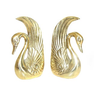 Brass Swan Book Ends