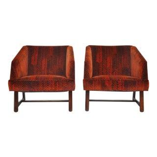 Harvey Probber Lounge Chairs in Jack Lenor Larsen Velvet