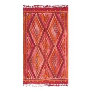 Vintage Turkish Sumak Pink & Orange Kilim - 4′6″ × 7′
