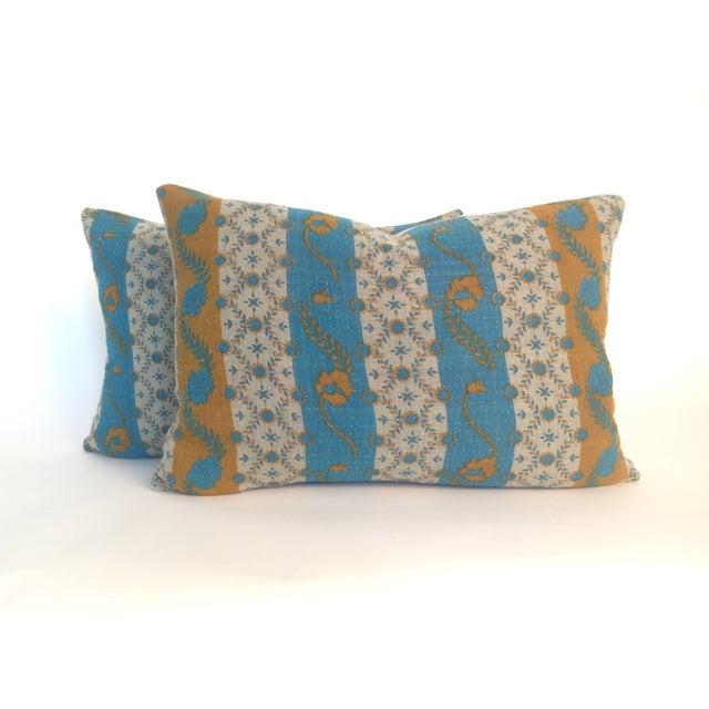 Vintage Block Printed Kantha Quilt Pillows - Pair - Image 2 of 4