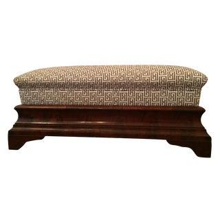 Antique Greek Key Upholstered Empire Bench