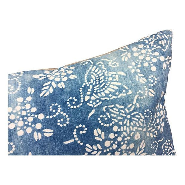 Faded Blue & White Batik Pillows - A Pair - Image 4 of 5