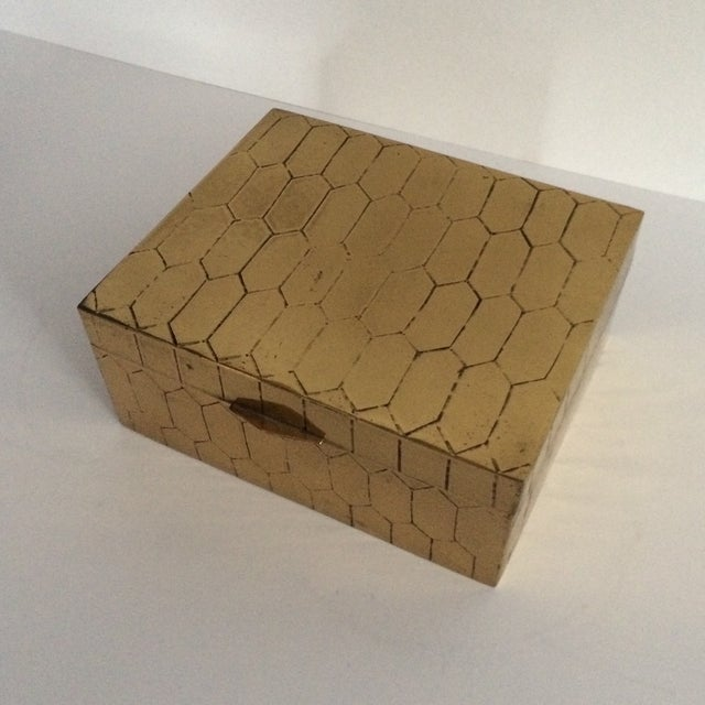 Image of Honeycomb Pattern Brass Box