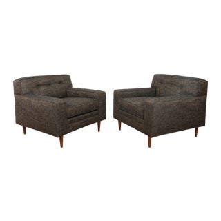 Gray Cubed Lounge Chairs- A Pair