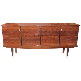 1940s Vintage French Art Deco Exotic Mahogany Sideboard or Buffet