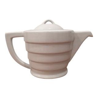 Art Deco Guggenheim White Spiral Teapot
