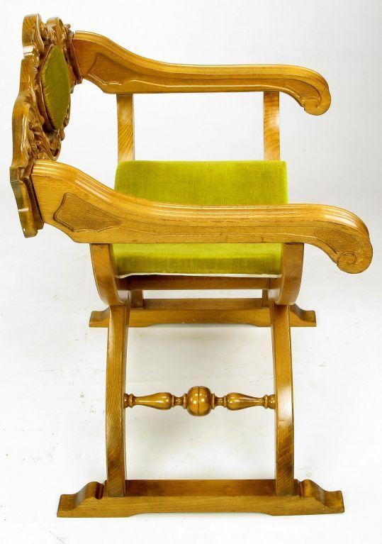 Pair Italian Curule Campaign Chairs In Wood U0026 Chartreuse Velvet   Image 5  ...