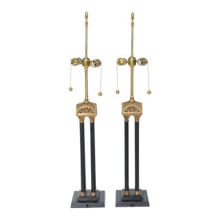 PAIR - Elegant English Neoclassical Style Column Table Lamps. 1950s