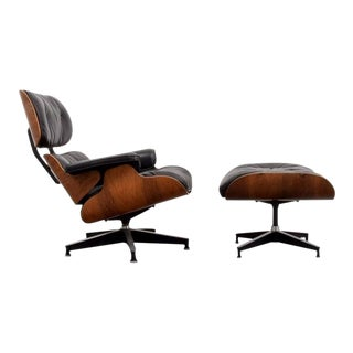 Eames Chair in Rosewood and Black Leather with Ottoman