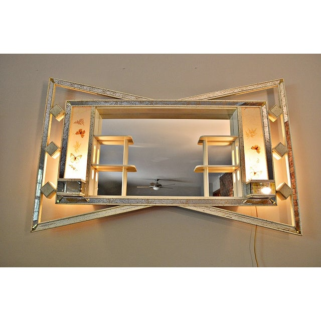 mid century lighted wall mirror with shelf planter chairish. Black Bedroom Furniture Sets. Home Design Ideas