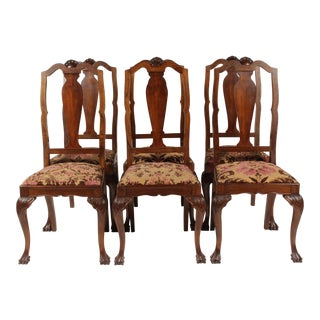 1940s Vintage Chippendale-Style Chairs - Set of 6