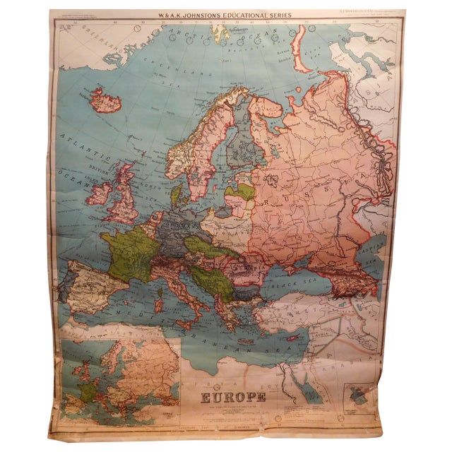 Antique 1922 Linen Educational Maps & Holder - S/5 - Image 1 of 9