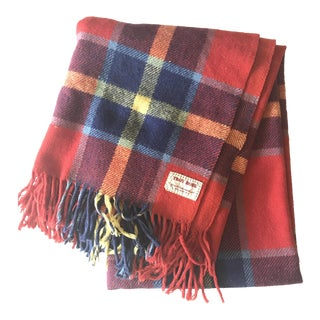 Troy Robe Vintage Plaid Wool Fringe Blanket
