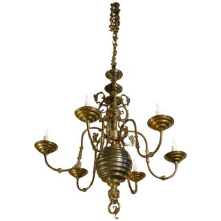Exceptional Belgian Bronze Dutch Baroque-Style Chandelier, Circa 1900