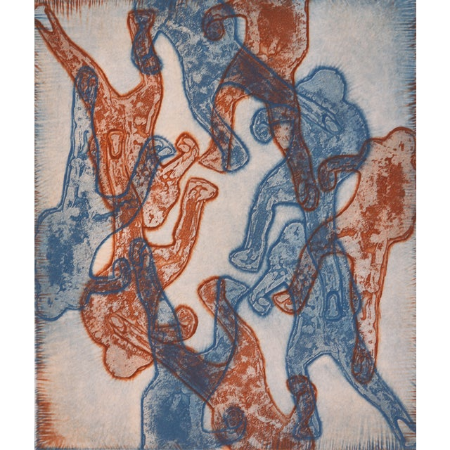Blue And Red Abstract Figures Collagraph - Image 1 of 3