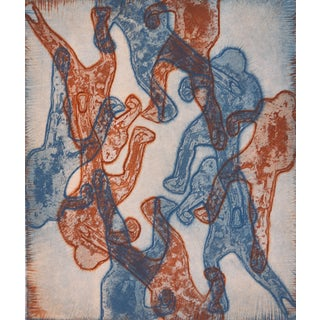 Blue And Red Abstract Figures Collagraph