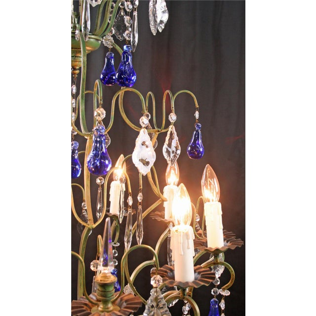 Large Maria Theresa Style 12-Arm Chandelier Blue - Image 6 of 8