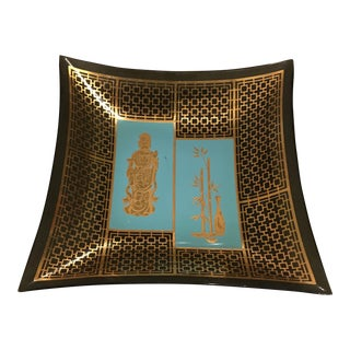 Mid Century Black & Gold Asian Tray