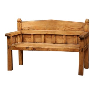 19th Century French Pine Bench From the Pyrenees