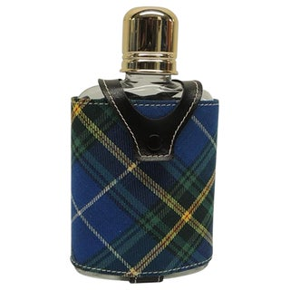 Vintage Flask with Green, Yellow and Blue Wool Tartan Covering