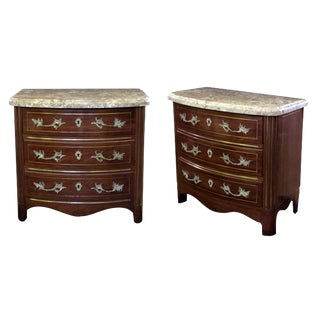 A Handsome Pair of Danish Empire Style Mahogany 3-Drawer Marble Topped Bow-Front Chests