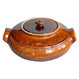 French Provincial Terra Cotta Round Lidded Tureen