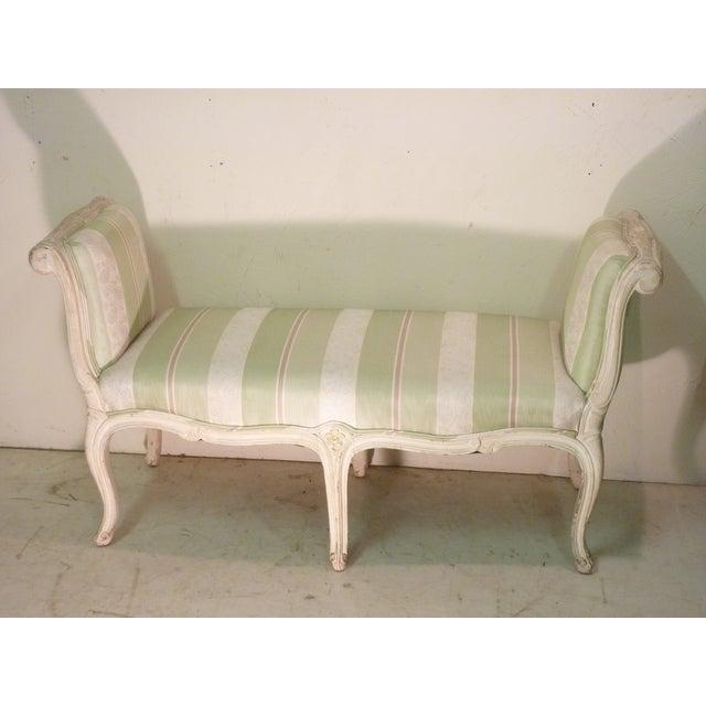 French Whitewashed & Upholstered Window Bench - Image 2 of 4