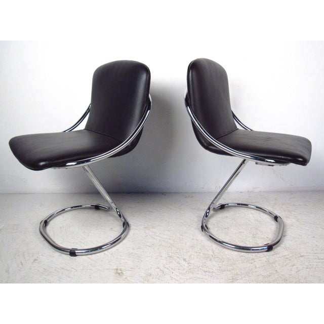 Image of Modern Chrome & Vinyl Dining Chairs - Set of 6