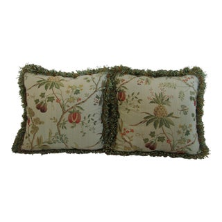 A Pair of Embroidered Floral With Fringed Edging Down Pillows