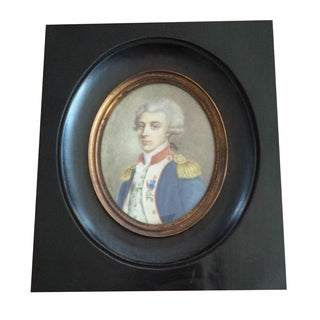 Antique French Military Officer Miniature Framed Portrait