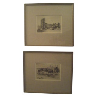 Vintage Cecil Forbes Signed Etchings - A Pair