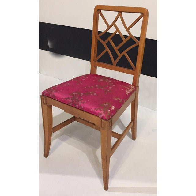 1940's Fretwork Greek Key Side Chair With Asian Upholstery - Image 3 of 9