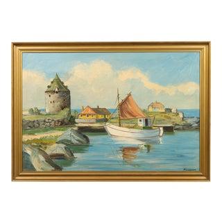 "Danish Painting ""Sailboat at The Dock"""