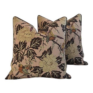 "26"" Custom Tailored Chinoiserie Floral & Birds Feather/Down Pillows - a Pair"