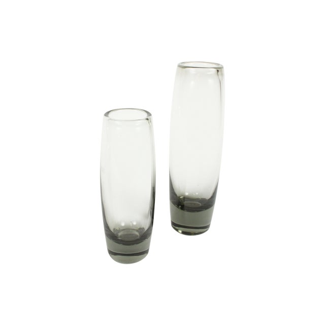 Holmegaard Smoke Glass Rondo Vases - A Pair - Image 1 of 4