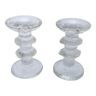 1966 Timo Sarpaneva for Iittala Glass Candlesticks- A Pair