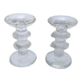 1966 Timo Sarpaneva for Iittala Glass Candlesticks- A Pair